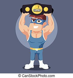 wrestler holding champion belt