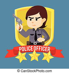 woman police officer in emblem