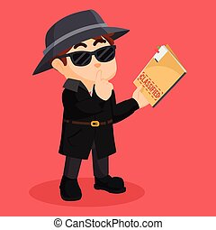 detective holding classified document