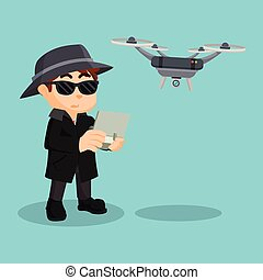 detective using drone illustration design