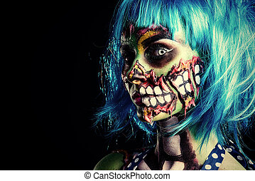 body painting - Fashionable zombie girl Portrait of a pin-up...