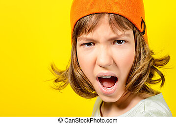 show your character - Portrait of a shouting angry teen girl...