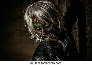 halloween make-up - Terrible bloodthirsty zombie woman in...