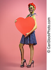 zombie with heart - Full length portrait of a pin-up zombie...
