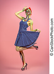 pretty zombie - Full length portrait of a pin-up zombie...