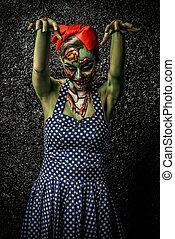 frightening pin-up zombie - Frightening pin-up zombie girl...