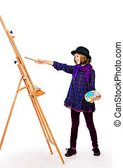 girl artist - Young artist girl with her easel and palette...