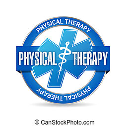 physical therapy medical seal isolated sign illustration...
