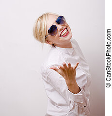 beauty blond woman in sunglasses on white background,...