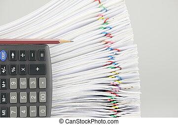 鉛筆, 文書工作, 垂直, 計算器, 超載, 地方, 迷離