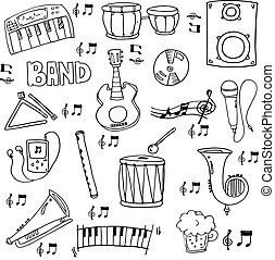 Doodle of hand draw music element