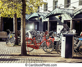 post card city view from vintage bicycle, near cafe,...