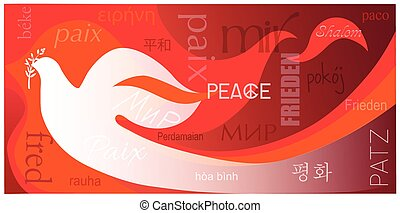 """Dove of Peace - Dove on a red background with a word """"peace""""..."""
