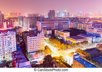 residential area at night in wuhan - residential area with...