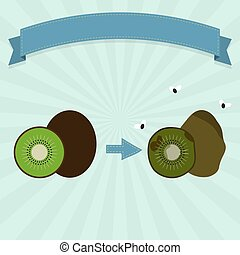 Rotten kiwifruit with flies and new kiwifruit. Blank ribbon...