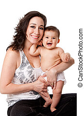 Happy mother and baby - Beautiful family, happy mother with...