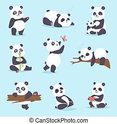 Panda bear vector set - Panda cartoon character in various...