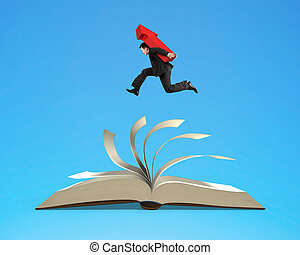 Businessman man carrying red arrow sign running on open book...