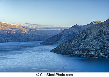 Last daylight on Lake Wakatipu and the Remarkables, New...