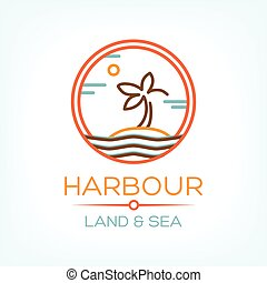 Harbour Land and Sea Vector illustration with palm on the...