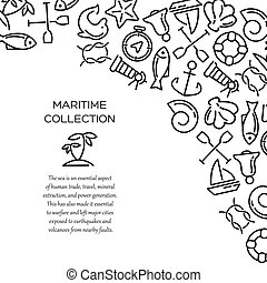Maritime collection background - Maritime collection. Sea...