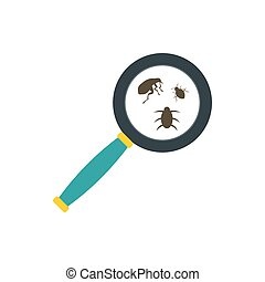 Insect parasites under magnifying glass icon - icon in flat...