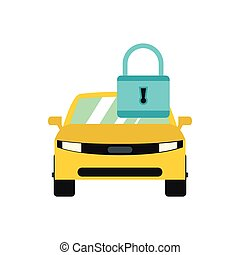Locking car doors icon, flat style - Locking car doors icon...
