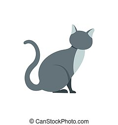 Gray cat icon in flat style - icon in flat style on a white...