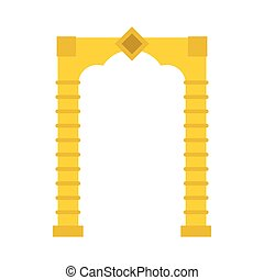 Yellow arch icon, flat style - icon in flat style on a white...