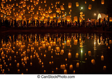 Flying Sky Lantern on Yeepeng festival, thai lanna tradition...