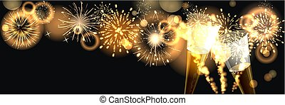 background with golden firework