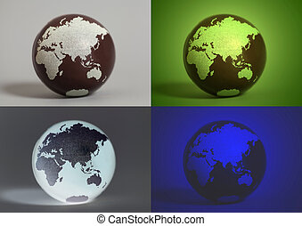 Collage with Earth World Globes