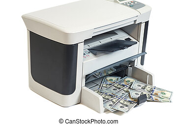 Printer printing fake dollar bills isolated on white background