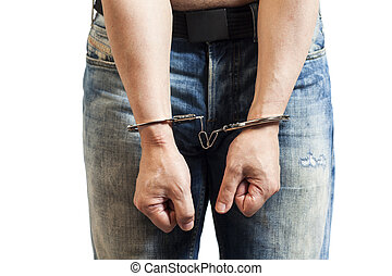 man in handcuffs arrested isolated on white