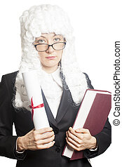 Female judge wearing a wig with eyeglasses holding brief and...