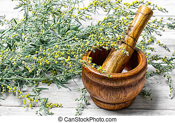 wormwood and mortar - Branch of medicinal sage and mortar...