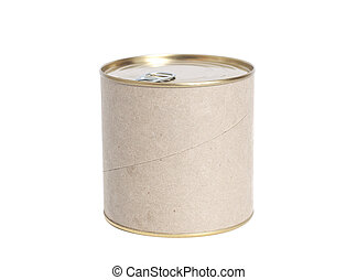 Sealed tin can isolated on white background