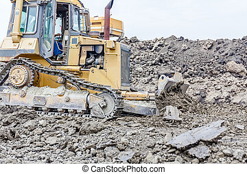 Heavy construction machine in action - Detail on bulldozer...