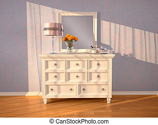 White dresser with a mirror in the interior. 3d...