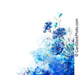 blue cornflowers by abstract elements - White background...