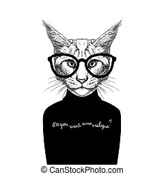 cat wearing glasses and a sweater - Hand Drawn stylized...
