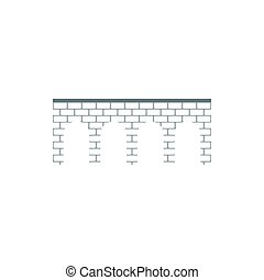 Brick arch bridge icon, flat style - icon in flat style on a...