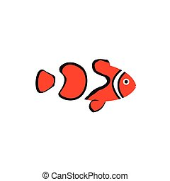 Clown fish icon in flat style - icon in flat style on a...