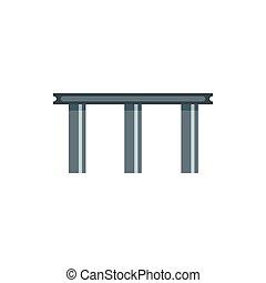 Beam bridge icon, flat style - icon in flat style on a white...