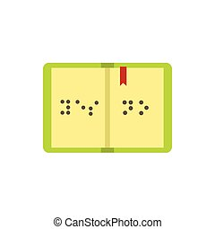 Book written in Braille icon, flat style - Book written in...