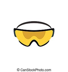 Yellow safety glasses icon, flat style - icon in flat style...