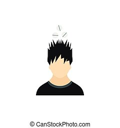 Man with tablets over his head icon, flat style - icon in...