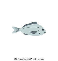 Bream fish icon in flat style - icon in flat style on a...