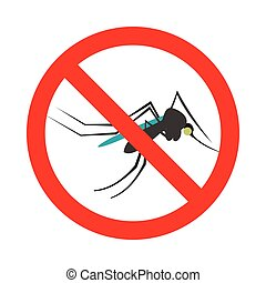 Prohibition sign mosquitoes icon, flat style