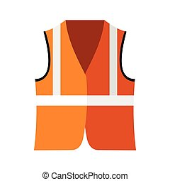 Orange safety vest icon, flat style - icon in flat style on...